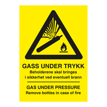 GASS UNDER TRYKK - Gas under pressure - Fareskilt