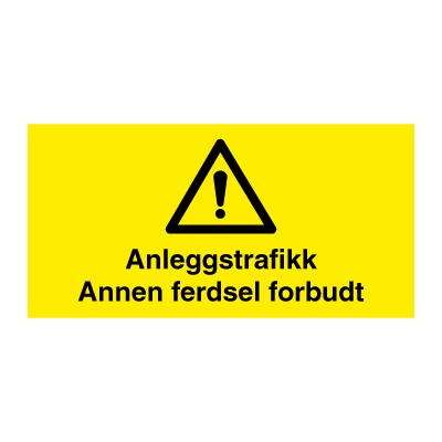 cff0c877 Byggeplasskilt   Anleggstrafikk - Annen ferdsel forbudt   DENFOIL