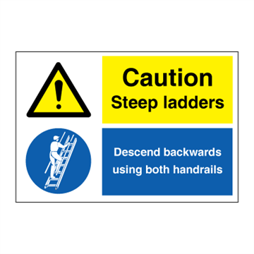Caution Steep ladders - IMO Combi sign - 200 x 300 mm. Foto.