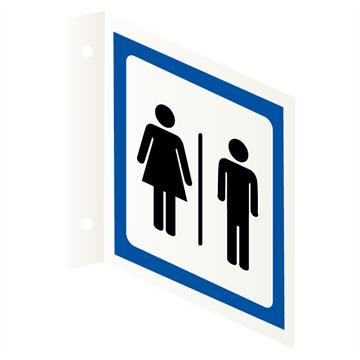 Toalettskilt for damer og herrer | Flaggskilt i aluminium