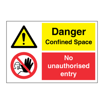 Danger Confined Space - No entry - IMO Combi sign - 200 x 300 mm. Foto.