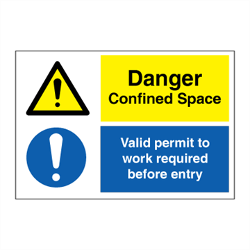 Danger Confined Space - IMO Combi sign - 200 x 300 mm. Foto.