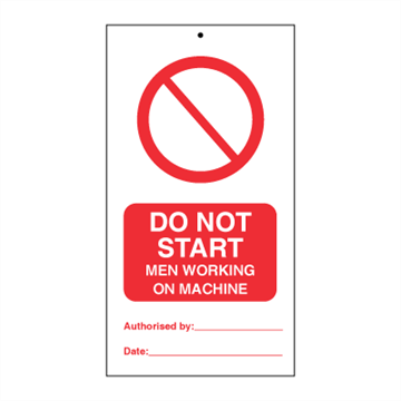 Do not start - Men working on machine (pk. a' 10 stk.) - IMO Tie Tags. Foto.