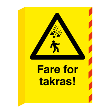 Fare for takras L-skilt - A2 (594 x 420 mm). Foto.
