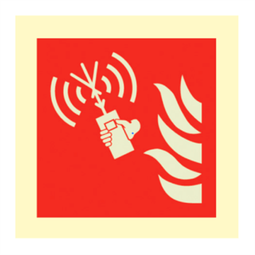 Fire emergency radio - IMO fire sign