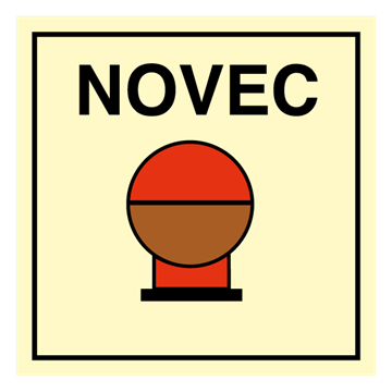 Fixed Fire Extinguishing system NOVEC - IMO Fire Control sign. Foto.