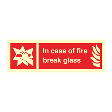 In case of fire break glass - Fire Signs