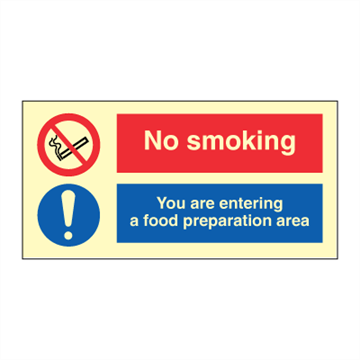 No smoking - You are entering a food preparation area - IMO Combi sign. Foto.