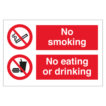 No smoking - No eating or drinking - IMO Combi sign - 200 x 300 mm. Foto.