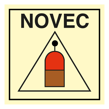 Remote release station NOVEC - IMO Fire Control sign. Foto.