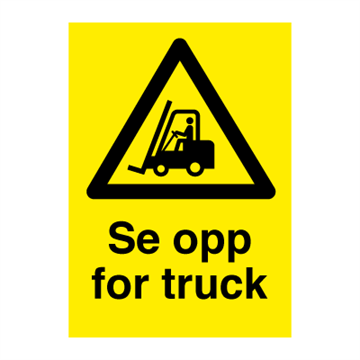 Se opp for truck - fareskilt-varselskilt