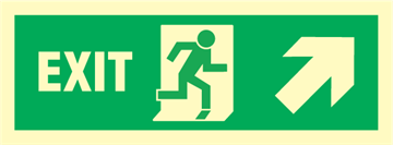 Exit right/up arrow up - exit sign