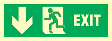Exit left arrow down - exit sign