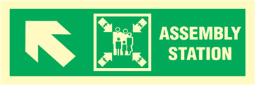 Assembly station arrow up to corner - exit sign