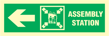 Assembly station arrow left - exit sign