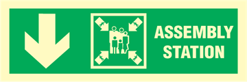 Assembly station arrow down - exit sign