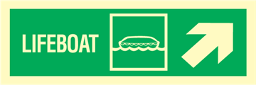Lifeboat arrow up right - exit sign