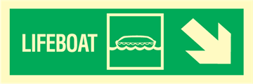 Lifeboat arrow down right - exit sign