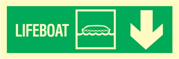 Lifeboat arrow down - exit sign