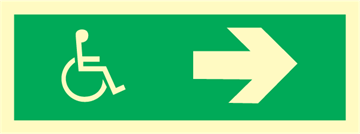 Wheelchair direction right - exit sign