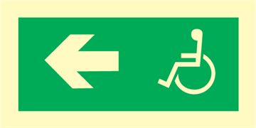 Wheelchair direction left - exit sign