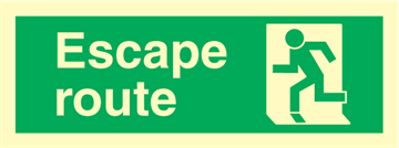 Escape route left - exit sign