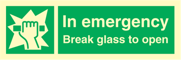 In emergency break glass to open - Emergency Signs