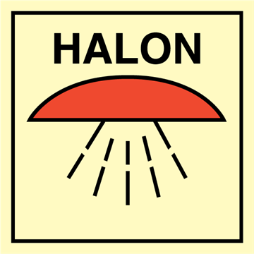 Space protected by halon - Fire Control Signs