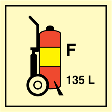 Wheeled fire extinguisher F 135L - Fire Control Signs