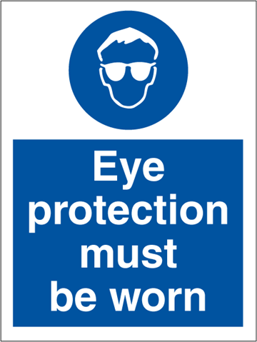 Eye protection must be worn - Mandatory Signs