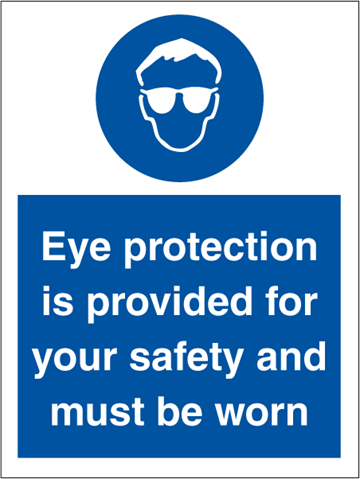 Eye protection is provided for - Mandatory Signs