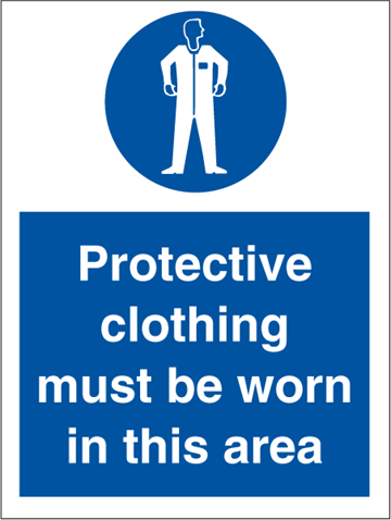 Protective clothing must be worn - Mandatory Signs