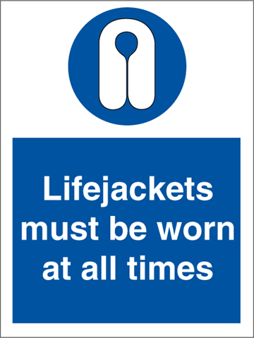 Lifejackets must be worn - Mandatory Signs