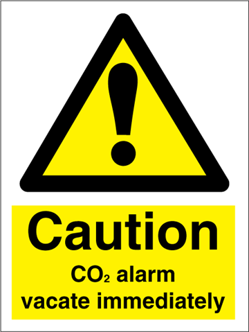 CO2 alarm vacate immediately - Hazard Signs