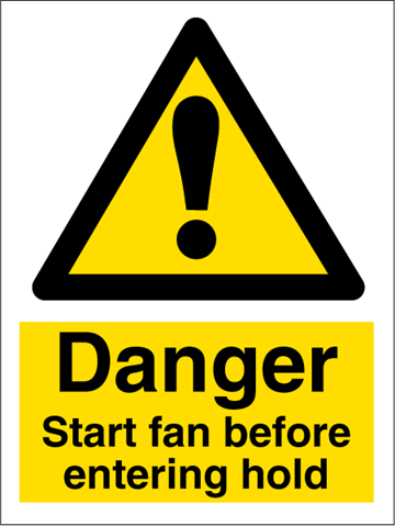 Start fan before entering hold - Hazard Signs