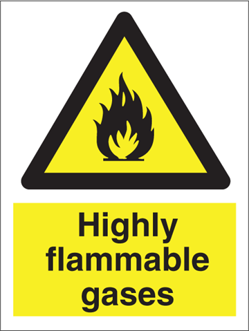 Highly flammable gasses - Hazard Signs