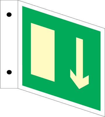 Exit arrow downr - Three Way Signs