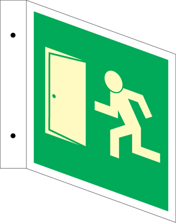 Exit with door - Three Way Signs