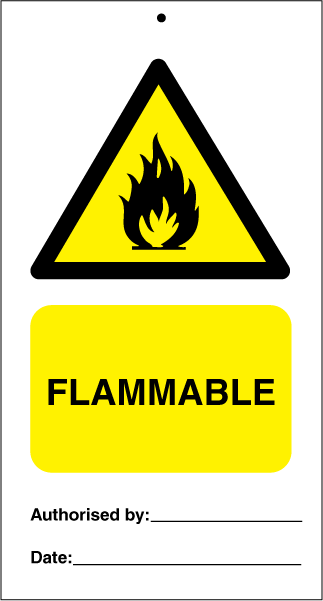 Flammable (pk. a' 10 stk.) - IMO Tie Tags. Foto.