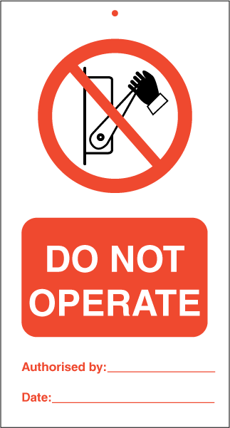 Do not operate (pk.a' 10 stk.) - IMO Tie Tags. Foto.