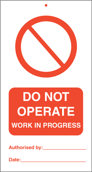 Do not operate Work in progress - IMO Tie Tags. Foto.