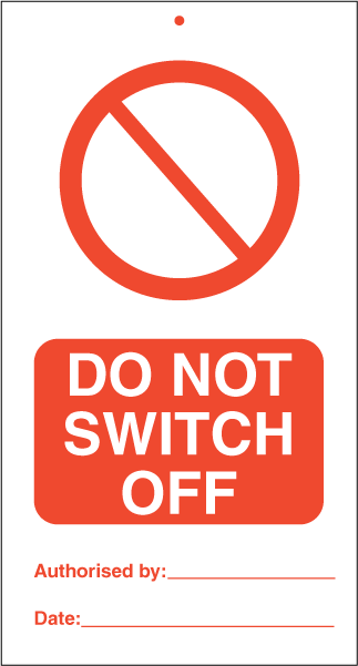 Do not switch off (pk. a' 10 stk.) - IMO Tie Tags. Foto.