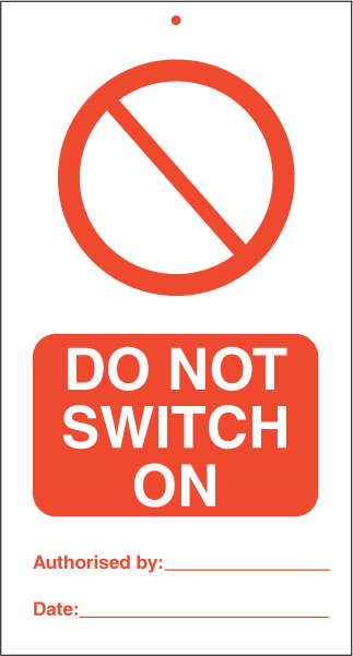 Do not switch on (pk. a' 10 stk.) - IMO Tie Tags. Foto.