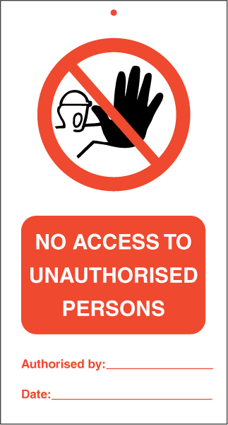 No access to unauthorised persons, IMO  tie tags. Foto.