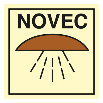Space protected by NOVEC - IMO Fire Control sign. Foto.