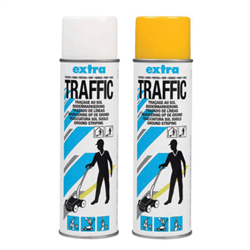 Merkespray til permanent oppmerking ute - Traffic Extra (650 ml). Foto.