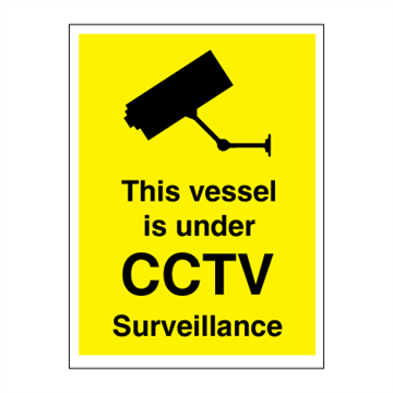 This vessel is under CCTV surveillance - 350 x 300 mm - ISPS Code. Foto.