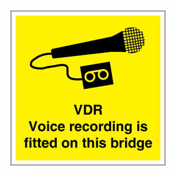 VDR - Voice recording is fitted on this bridge - ISPS Code. Foto.
